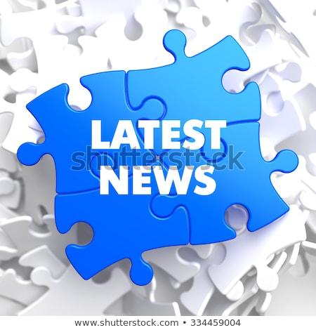 Forró hírek kék puzzle fehér sajtó Stock fotó © tashatuvango