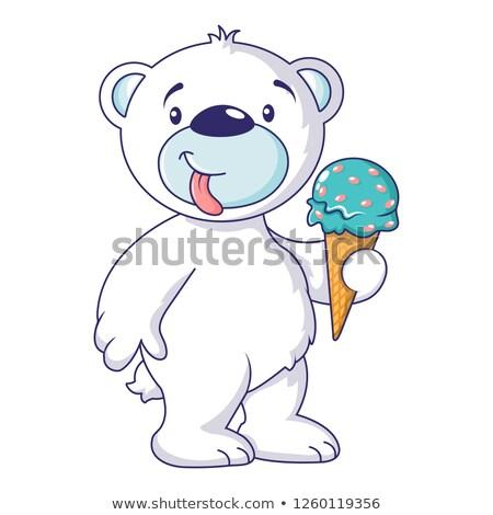 白 クマ チョコレート アイスクリームコーン 実例 ストックフォト © orensila