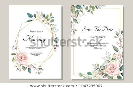 Invitation de mariage roses image illustration blanche perles Photo stock © Irisangel