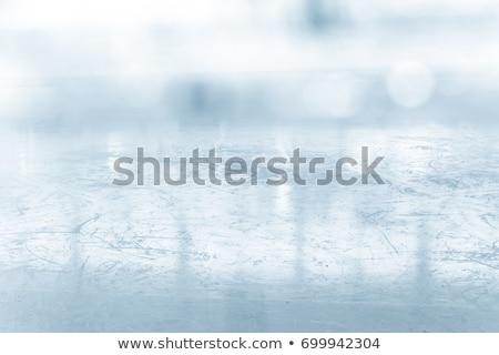 Ijs oppervlak gebarsten Blauw bevroren water Stockfoto © premiere