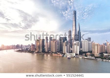 Szanghaj Cityscape ptaków widoku Chiny urban scene Zdjęcia stock © wxin