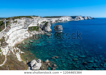White cliffs, stacks and Mediterranean at Bonifacio in Corsica Stock photo © Joningall