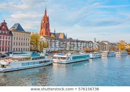 öreg · történelmi · híd · Frankfurt · délelőtt · fő- - stock fotó © andreykr