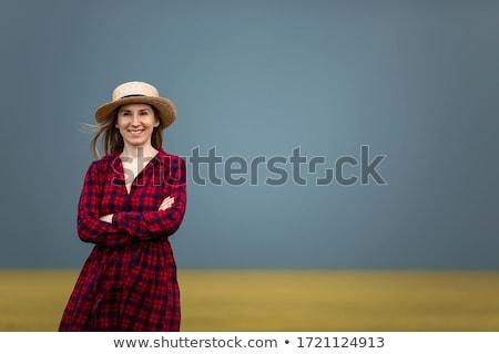 Női gazda áll termékeny mezőgazdasági farm Stock fotó © stevanovicigor