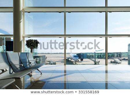 Urbano aeroporto detalhado avião cena estilo retro Foto stock © oblachko