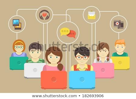 gyerekek · számítógépek · arcok · aranyos · kicsi · bent - stock fotó © vectorikart