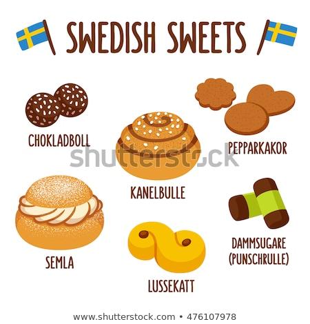 Swedish marzipan and chocolate rolls Stock photo © aladin66