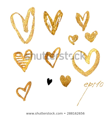 Gold acrylic heart. Hand drawn. Stock photo © gladiolus