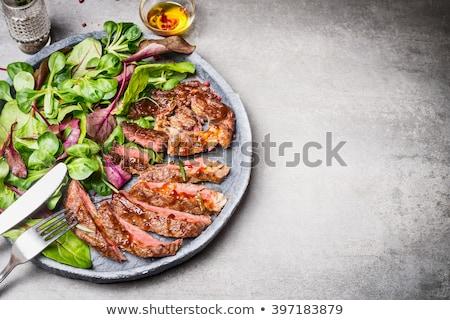 Stok fotoğraf: Salata · et · plaka · yaprak · restoran · yeşil