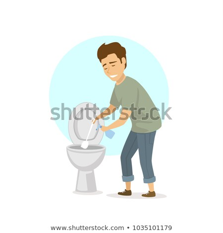 Man Cleaning a Toilet, illustration Stock photo © Morphart