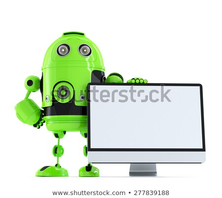 Stock photo: Robot with TV screen. 3D TV concept image. Isolated. Contains clipping path