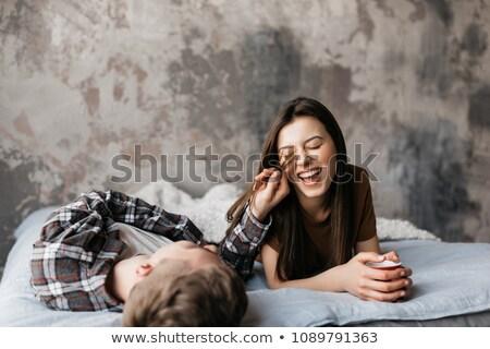 Zdjęcia stock: Piękna · młoda · kobieta · pierwszy · kawy · bed