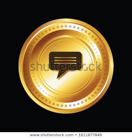 Mensagem vetor ouro ícone web botão Foto stock © rizwanali3d