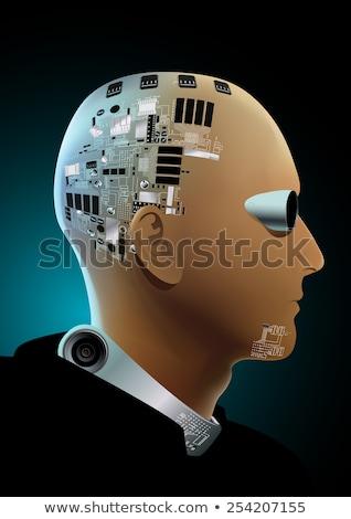 Hombre negro hi tech cara luz seguridad Foto stock © adamfaheydesigns