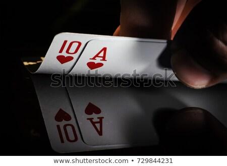 Dieci cuori giocare carta bianco rosso Foto d'archivio © Bigalbaloo