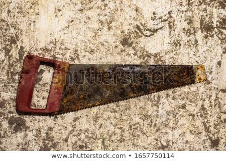 Starych zardzewiałe widział odizolowany biały Zdjęcia stock © Avlntn