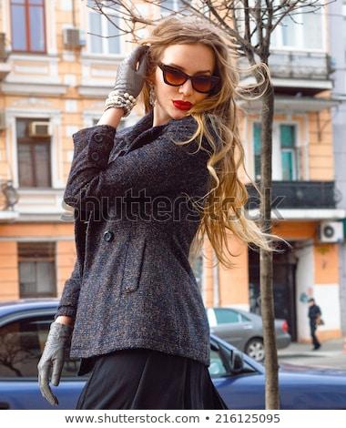роскошь женщину перчатки сидят барокко Сток-фото © alphaspirit