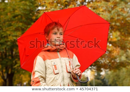 portrait of boy in autumn park with big red umbrella horizontal format stock photo © paha_l