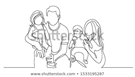 aile · dört · vektör · kız · el · mutlu - stok fotoğraf © Paha_L