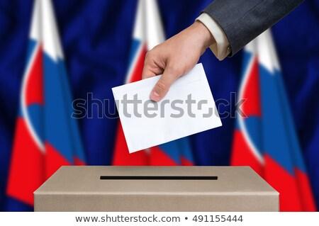 szavazás · zárolt · szavazócédula · doboz · kéz - stock fotó © zerbor