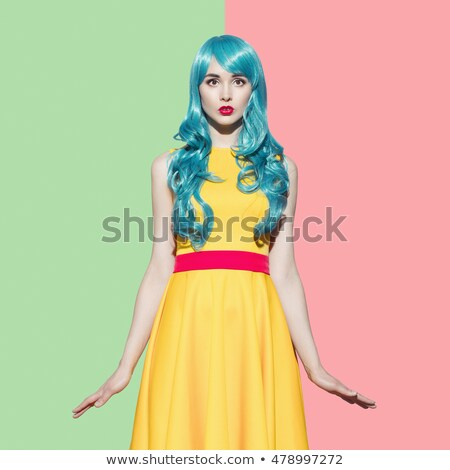 Fashion model with trendy, coloring  haircut Stock photo © majdansky