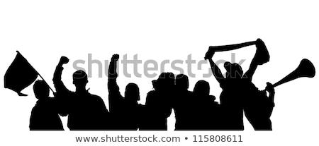 Sportok ventillátor baseballsapka ünnepel derék felfelé Stock fotó © ozgur