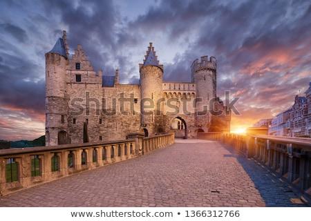 entrada · castelo · portão · bandeiras · medieval · porta - foto stock © jorisvo