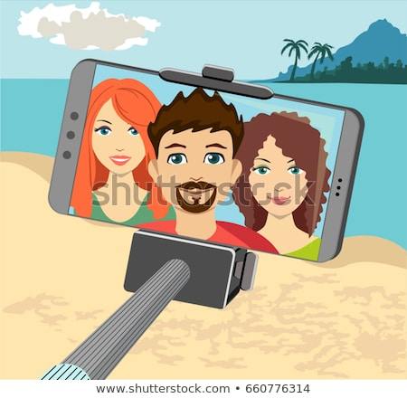 Stockfoto: Beach Vacation Girl Taking Phone Self Portrait Pictures With Selfie Stick