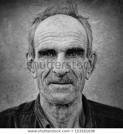 Stock photo: Artistic old photo of elderly bald man, grunge vintage background
