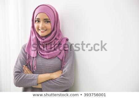 Portre genç kadın peçe kadın göz mutlu Stok fotoğraf © zurijeta