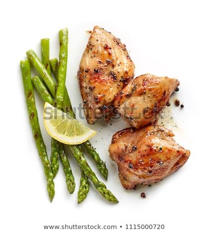 Blanco espárragos pechuga de pollo placa carne tomate Foto stock © Digifoodstock