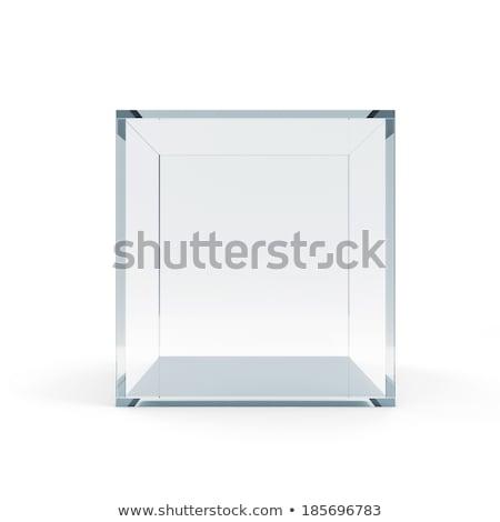 Empty glass cube, isolated stock photo © cherezoff