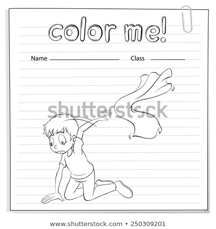 A worksheet with a young boy kneeling Stock photo © bluering