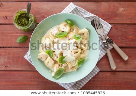Tortellini sajt mártás tál paradicsom ebéd Stock fotó © Digifoodstock
