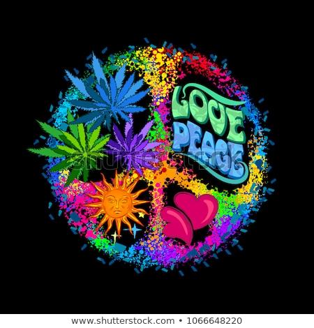 Hennep blad symbool regenboog kleur ontwerp Stockfoto © Zuzuan