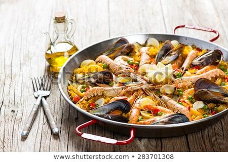 スペイン料理 · エビ · コメ · クローズアップ · 食品 · 緑 - ストックフォト © smuki