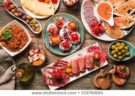 Tapas aperitivos comida delicioso tabela folha Foto stock © racoolstudio