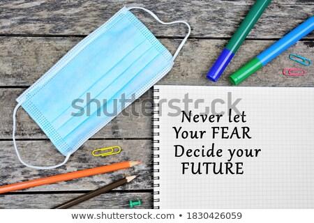 félelem · szó · iroda · szerszámok · fa · asztal · iskola - stock fotó © fuzzbones0
