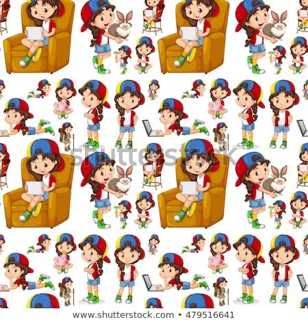 Sem costura menina diferente coisas ilustração crianças Foto stock © bluering