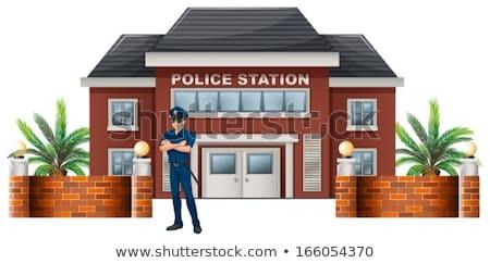 Policjant stałego policji stacja ilustracja biały Zdjęcia stock © bluering