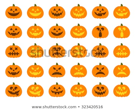 halloween pumpkin vector icons set emotion variation stock photo © khabarushka