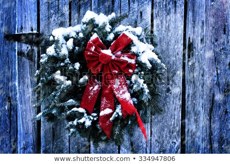 Snowy winter Christmas wreath on a barn door Stock photo © ozgur