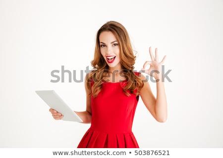 Nő táblagép kacsintás mutat ok felirat Stock fotó © deandrobot