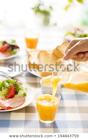 Tomatensap brood vers glas jar ruw Stockfoto © zhekos