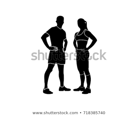 fitness · esportes · masculino · feminino · silhueta · bom - foto stock © comicvector703