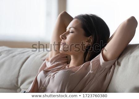 mulher · inclinando-se · para · trás · jovem · belo · isolado - foto stock © sapegina