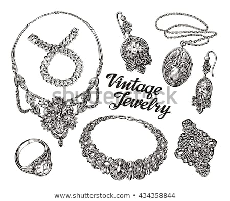 Jewerly Sketch Banner. Necklace and Earrings. Stock photo © robuart