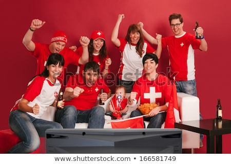 cheering for swiss sports team stock photo © sumners