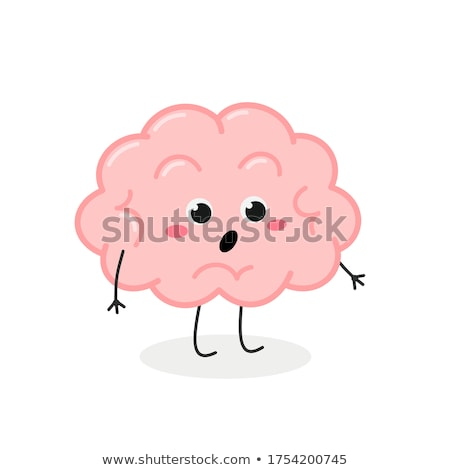 brain surprised emotion. Human brains Emoji astonished. Isolated Stock photo © popaukropa