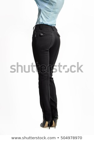 Fashion female concept. Woman full length in trousers high heels shoes classical style. Back view, i Stock photo © igor_shmel